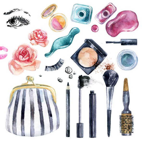 Watercolor beauty collection for makeup. Fashionable design