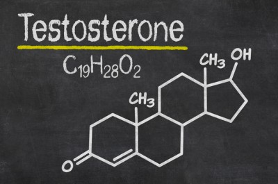 Blackboard with the chemical formula of testosterone