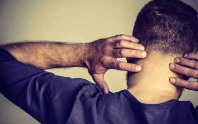 Man having neck ache